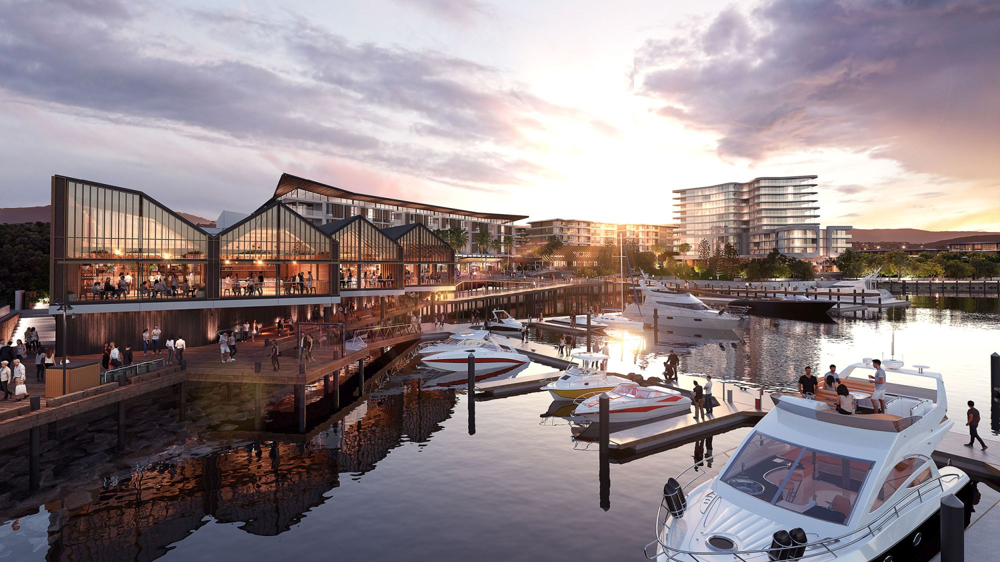 The Waterfront, Shell Cove harbour foreshore. Frasers Property Australia and Shellharbour Council.