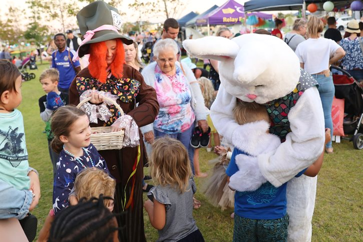 Easter Bunny & Alice with kids