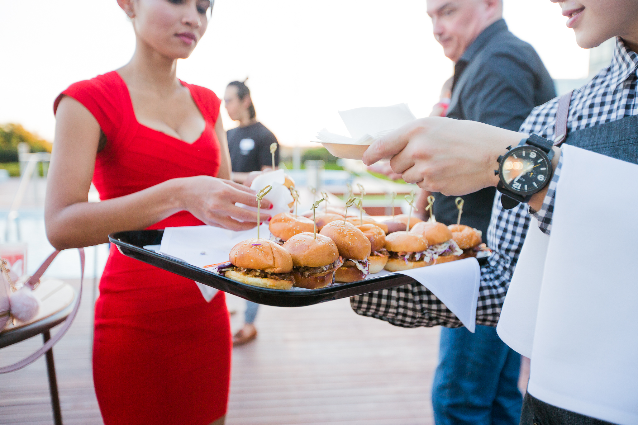 canapes on the pool deck