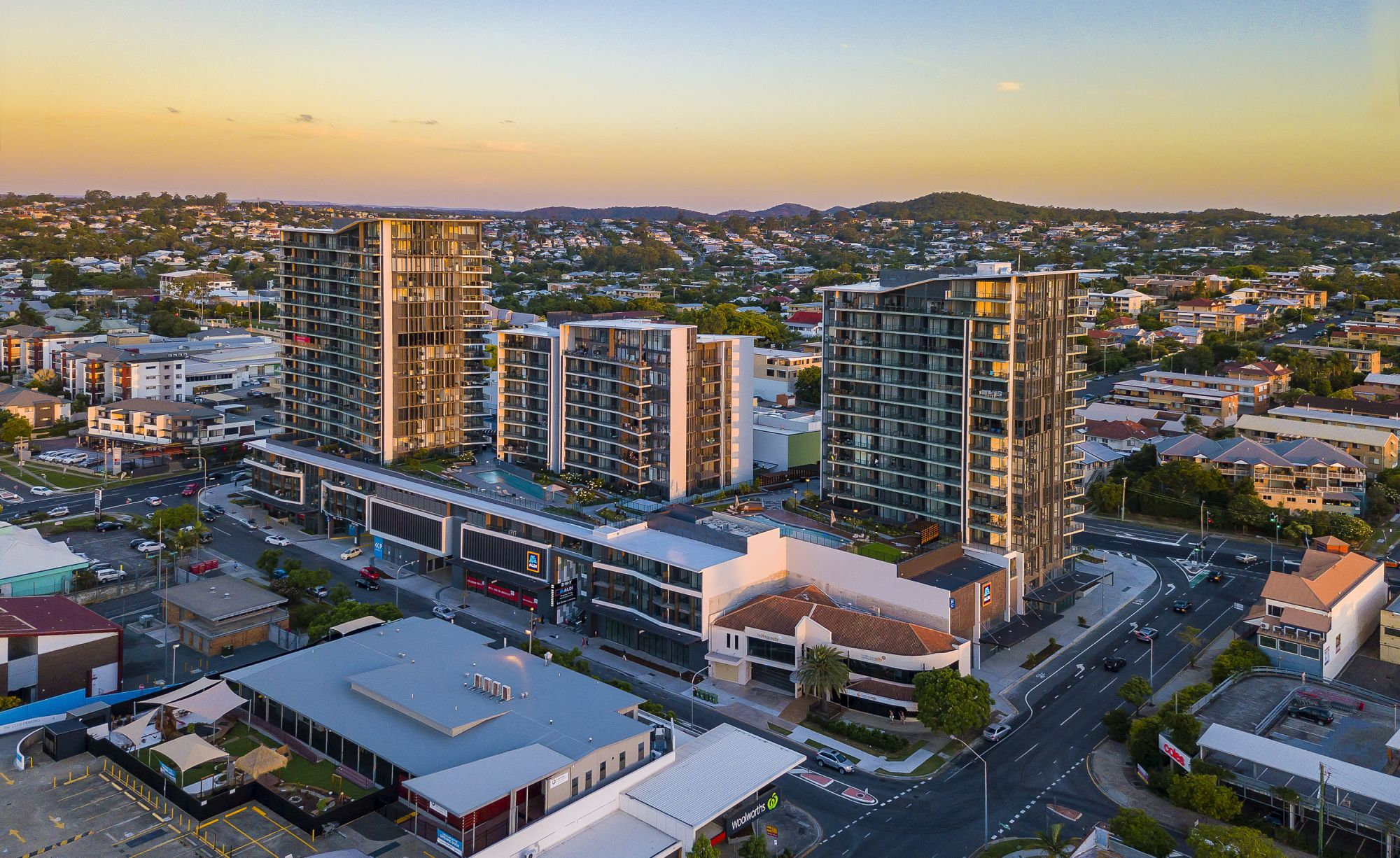 Coorparoo Square, Queensland, Australia. Joint venture project Frasers Property Australia and Honeycombes Property Group. Drone.