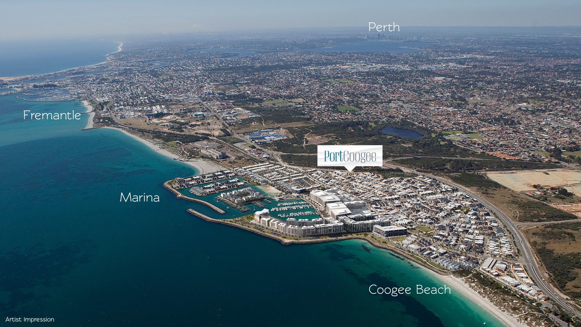 Artist impression aerial of Port Coogee